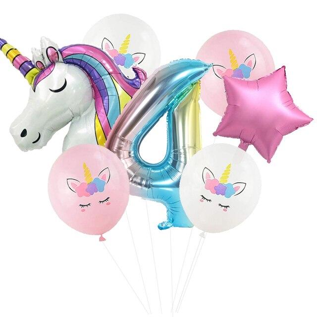 Tęczowa opaska jednorożec balon piłka kolorowy numer dekoracje na imprezę urodzinową impreza jednorożec balony urodzinowe dekoracje dla dzieci