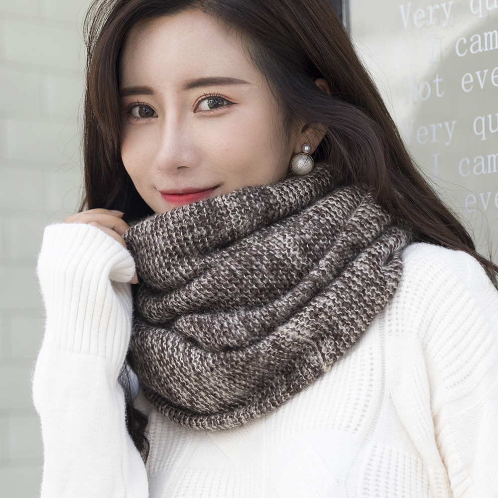 Women Scarf Winter Warm Knit Large Circle Scarves Soft Winter Warm Chunky Knit Cowl Infinity Loop Scarfs