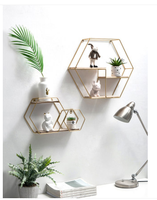 Creative wrought iron hexagonal wall shelf Nordic style display stand shelf home bookshelf estanteria pared