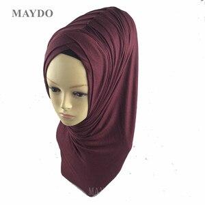 Image 4 - TJ29 1   Fashion Fold Muslim Hijab Headband Pashmina Muslim Shawl
