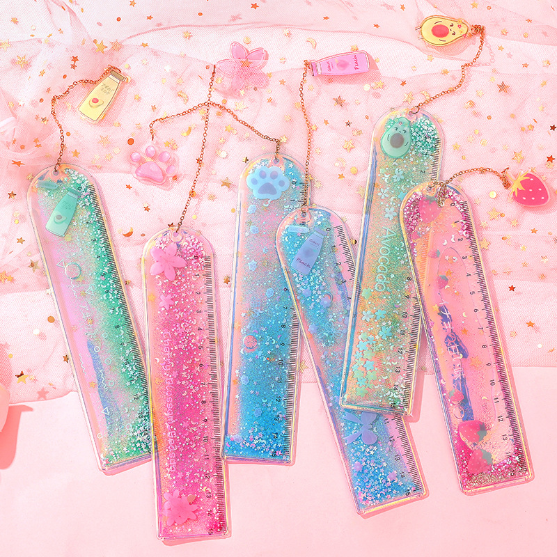 1 Pcs Oil Flow Sand Bookmark Rulers Kawaii Laser Girl Drawing Template Lace Sewing Ruler Stationery Office School