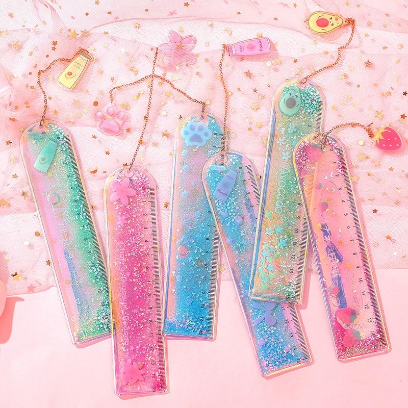 Regla de flujo de arena, marcapáginas Kawaii, chica láser, plantilla de dibujo, regla de costura de encaje, papelería, oficina y escuela