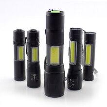مصغرة عالية الطاقة مصباح يدوي 2 LED COB Q5 penlight USB linterna العمل ضوء فلاش الشعلة بطارية قابلة للشحن مصباح التخييم linteras