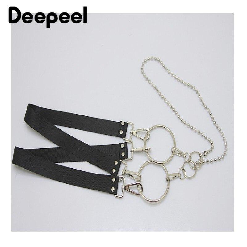 Deepeel 1pc 3*100-110cm Unisex Black Metal Chain Suspenders Punk Hip-hop Fashion Belt Y-Back Braces Adjustable Suspenders SP600