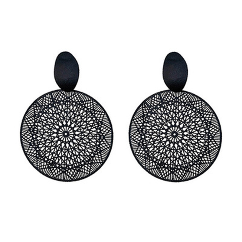 alloy The pendants Delicate hollow-out decorative pattern retro black circle  Womens fashion jewelry