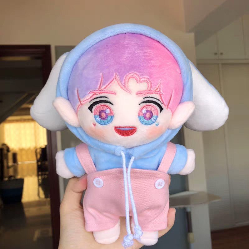 [MYKPOP]KPOP Doll's Clothes And Accessories: Bunny Hooded Sweatshirt + Overalls 2pcs Set For 20cm &15cm Dolls SA19102909