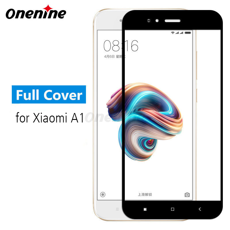 Onenine 4D Carving Protective Glass For Xiaomi Mi A1 Tempered Glass Full Cover Screen Protector 3D Curved 9H Anti-scratch Film