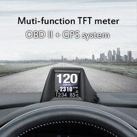 Sistema Dual de pantalla para coche, velocímetro Digital OBD, GPS, pantalla frontal, pantalla LCD de 2 pulgadas, alarma de exceso de velocidad, proyector de velocidad