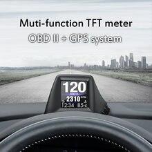 Obd gps head-up display sistema duplo carro digital hud gps velocímetro 2 polegadas lcd alarme de excesso de velocidade do carro projetor