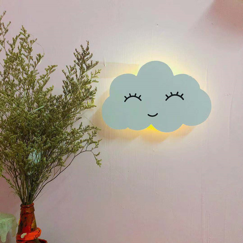 INS Wireless Remote Control Cloud Moon Sun Night Lights For Nursery Baby Room Kids Bedroom Wall Decoration Lamp Design Gift Idea