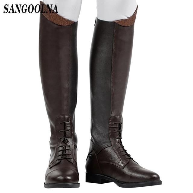 Womens Winter Retro Slip On Equestrian Riding Boots 1