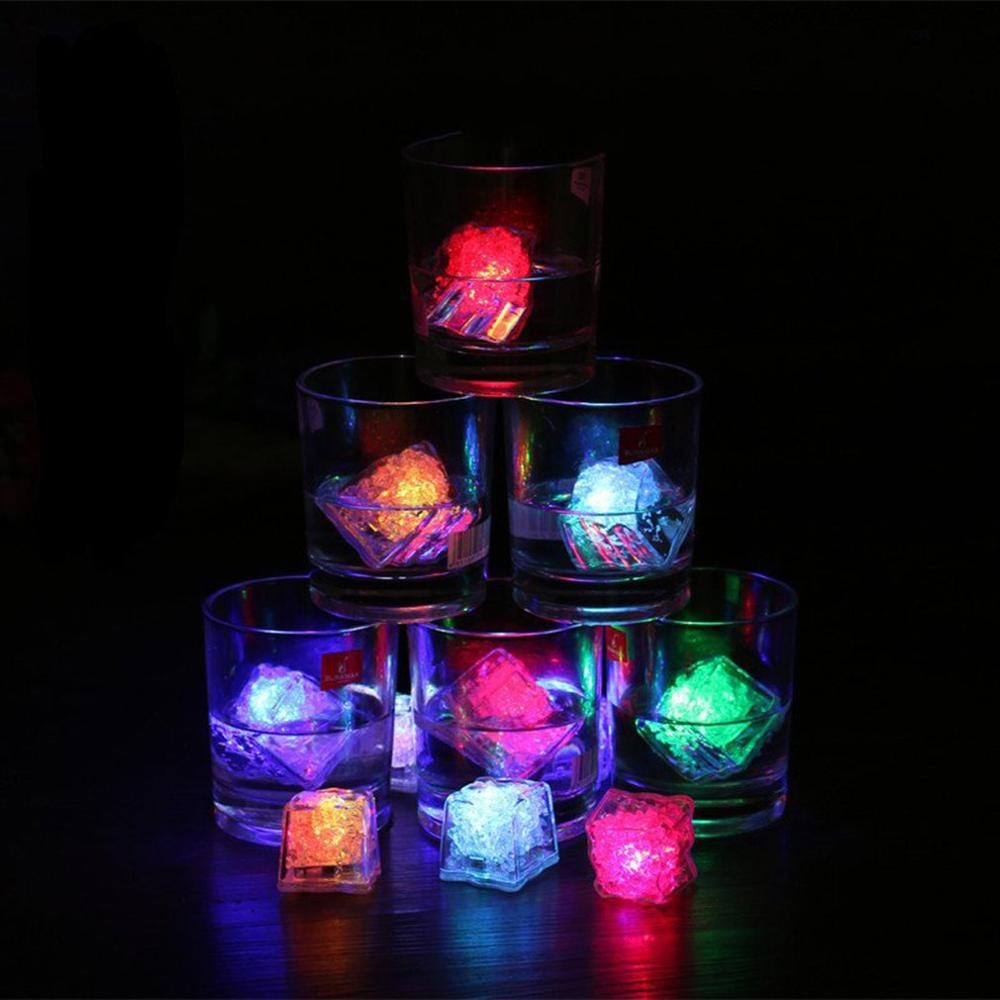 LED Ice Cubes Glowing Party Ball Flash Light Luminous Neon Wedding Festival Christmas Bar Wine Glass Decoration Supplie 12Pcs Dr