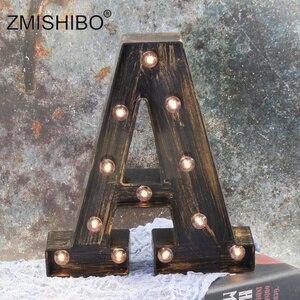 Image 3 - ZMISHIBO A Z i LED list w stylu industrialnym lampki nocne Holiday Bar Cafe wystrój sklepu oświetlenie domu 3D alfabet nocna lampka ścienna