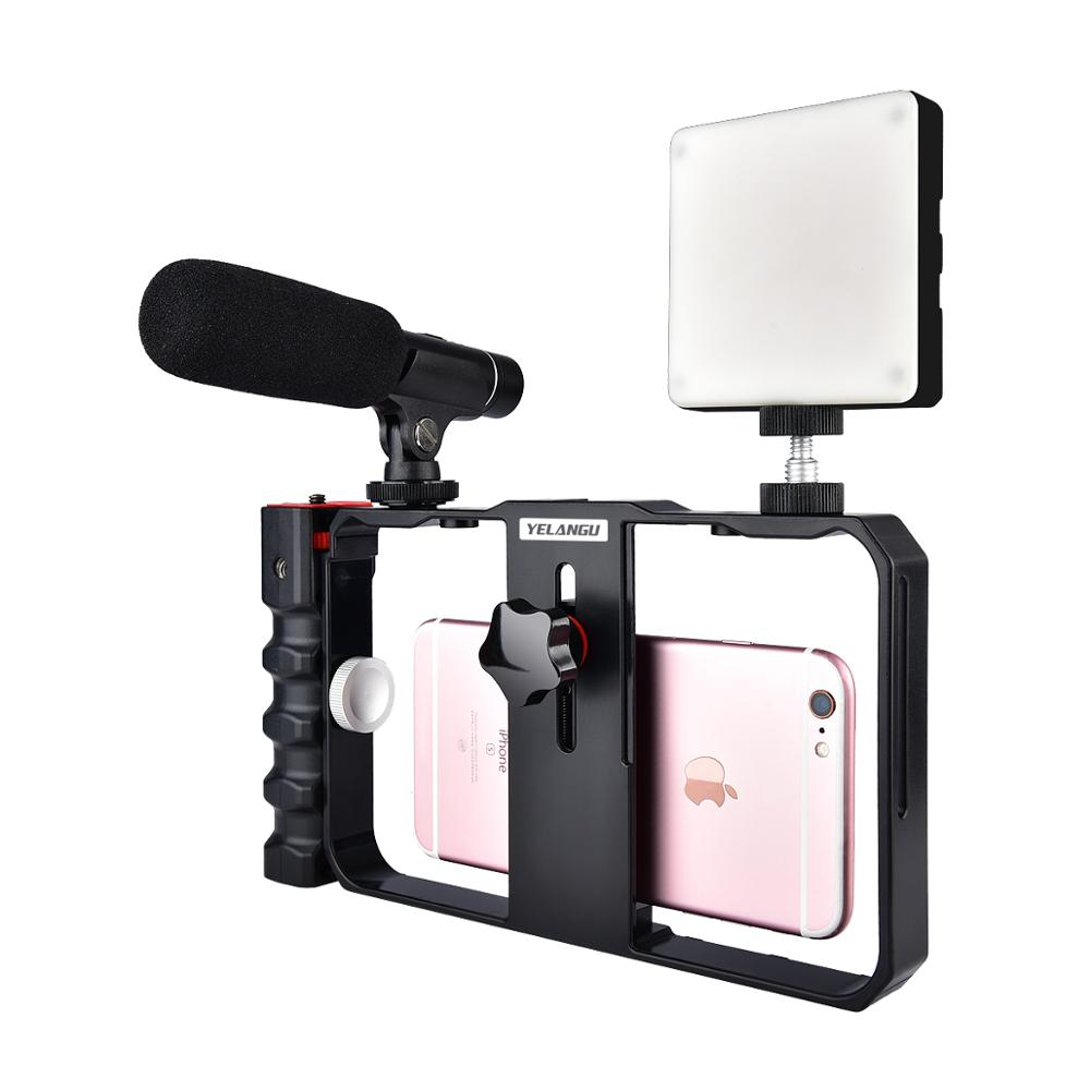Yelangu Pro Smartphone Video Rig Filmmaking Case Phone Video Stabilizer Grip Mount For IPhone Xs Max XR X 8 Plus Samsung Huawei