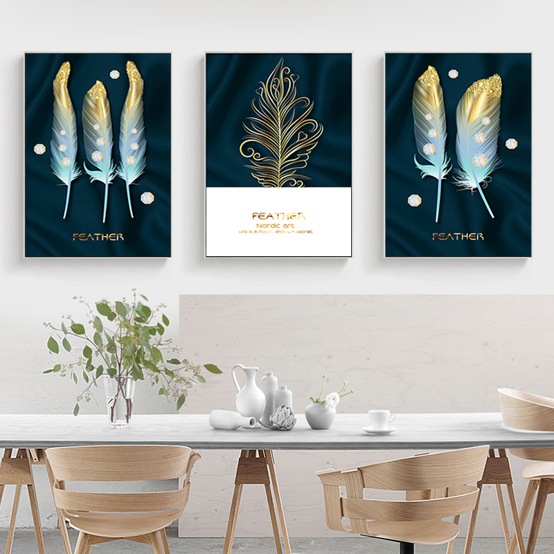 Modern Nordic Golden Feathers Oil Painting Abstract Poster Canvas Painting Wall Art Pictures for Living Room Cuadros Home Decor
