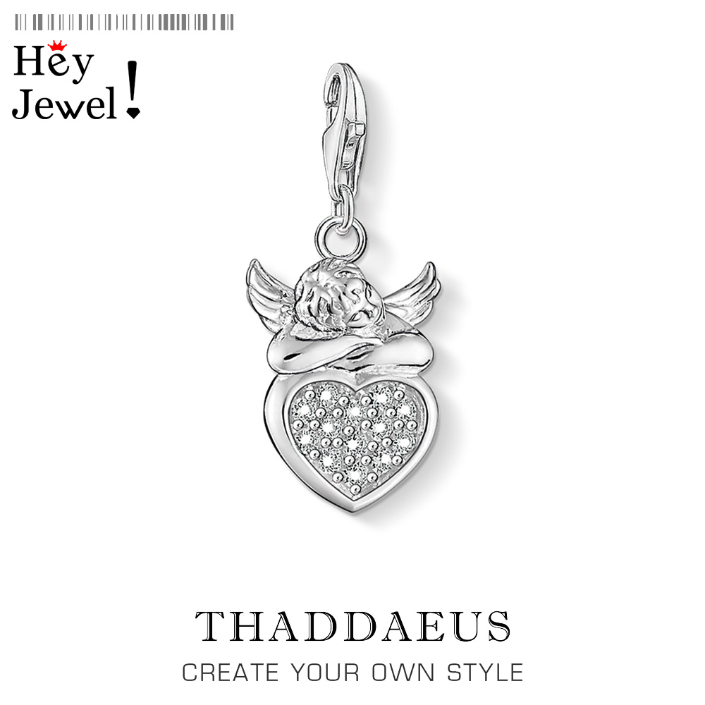 Angel With Heart 925 Sterling Silver Charms For Women Girls 2020 Spring Brand New Roamntic Gift DIY Accessories Fashion Jewelry
