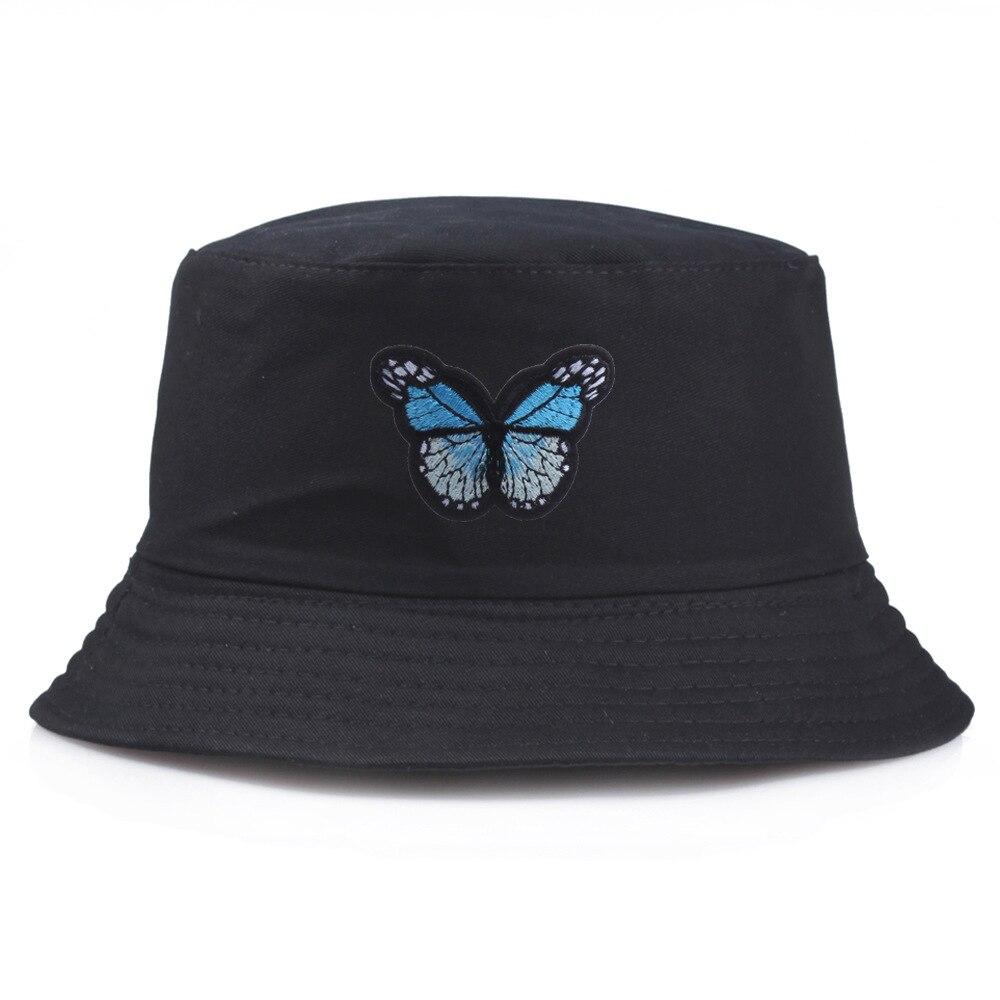 Mariposa bordado sombrero las mujeres neto rojo mismo sombrero de pescador japonés Simple de ocio estudiante gorro de lavabo protector solar sombrero Unisex