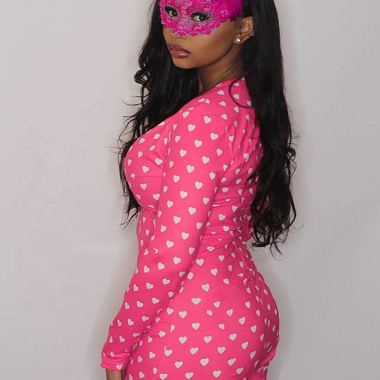 Hirigin Spring Sexy Women Print Elegant Sleepwear Pajamas Long Sleeve Bodycon Short Jumpsuits Nightwear Pajama