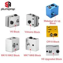 High quality 3D Printer Accessories Heated Block MK7 MK8 MK10 V5 V6 Volcano for Print Head Extruder J-head Aluminum Block