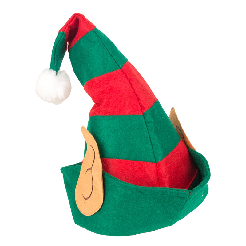 Adults Christmas Elf Hat with Ear Stripy  Red Green Xmas Fancy Dress Party Hat