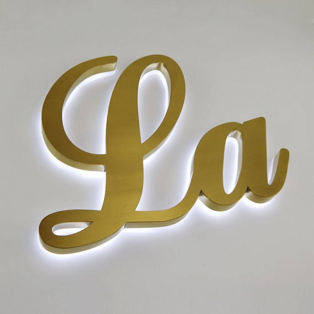 Hot Sale 3D Metal Backlit Sign Golden Stainless Steel Back Light Sign Letters For Outdoor Or Indoor Decoration