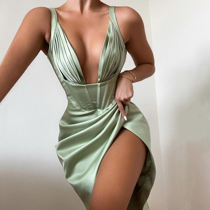 Townlike Stretch Satin Elegant Dress Women High Split Deep V Neck Sexy Party Dress 2021 Summer Dresses With Fishbone Vestidos 1