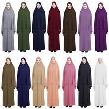 2PCS Frauen Muslimischen Overhead Hijab Rock Gebet Abaya Sets Islamischen Jilbab Kaftan Ramadan Damen Anbetung Nahen Osten Kleidung Neue