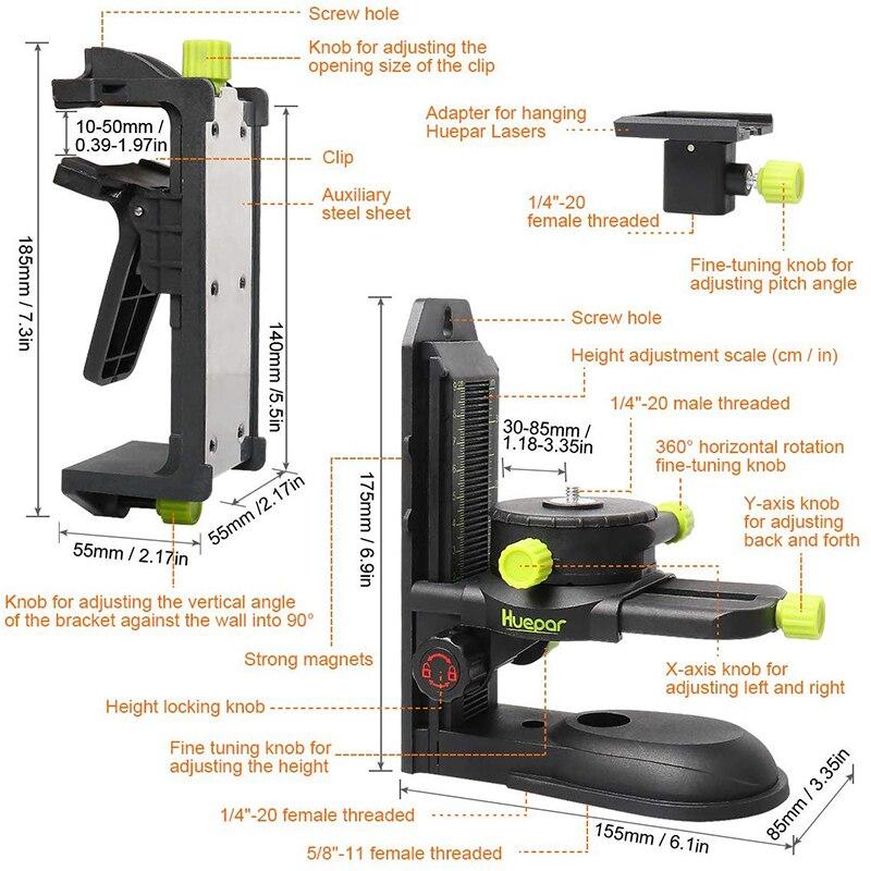 Base Magnetic With Tool Bracket Fine Laser Adapter 360   Clip Pivoting Adjustable Multifunctional Huepar Adjustable   Level Tuning