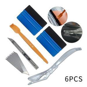 6pcs Vinyl Wrap Car Magnet Squeegee Tools Set Carbon Fiber Film Cutter Car Sticker Wrapping Window Tint Auto Accessories