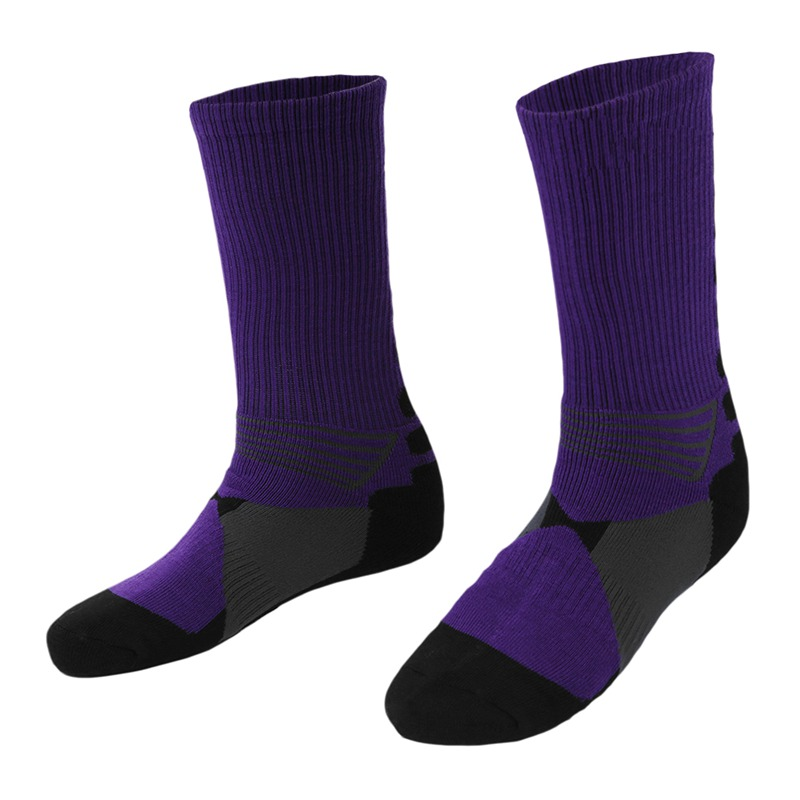 1 Pair Of Purple Adult Socks Outdoor Polyester Fiber Sports Socks Long Tube Basketball Track And Field Sports Socks One Size