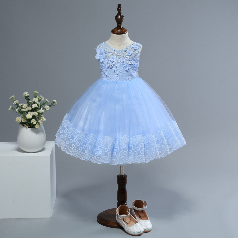 Europe And America GIRL'S Gown Gauze Tutu Princess Dress Children Wedding Dress Baby Dress Lace Dress