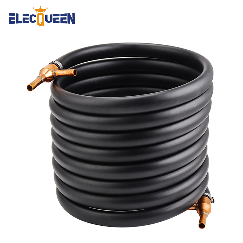 Counterflow Wort Chiller 25'x3/8'' Efficient Copper Heat Exchanger,1/2'' Copper Tubing Counter Flow Chiller Garden Hose Fittings