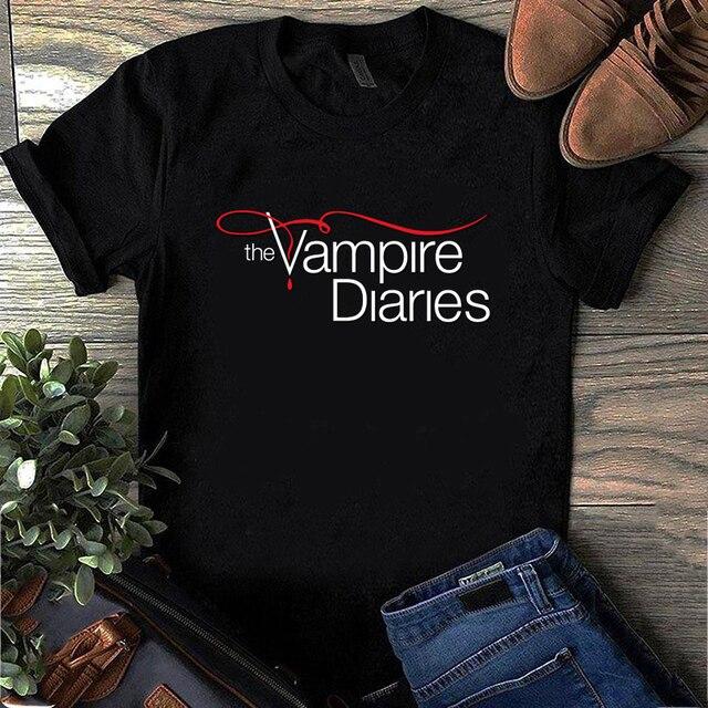 Plus Size Short-sleeve Tee Shirt Women Men The Vampire Diaries T Shirt Ulzzang Vintage Harajuku Female Tops Tee Dropshipping