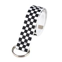 2019 Fashion Punk Checkered Belt Waistband Long Black and White Plaid Checkerboa