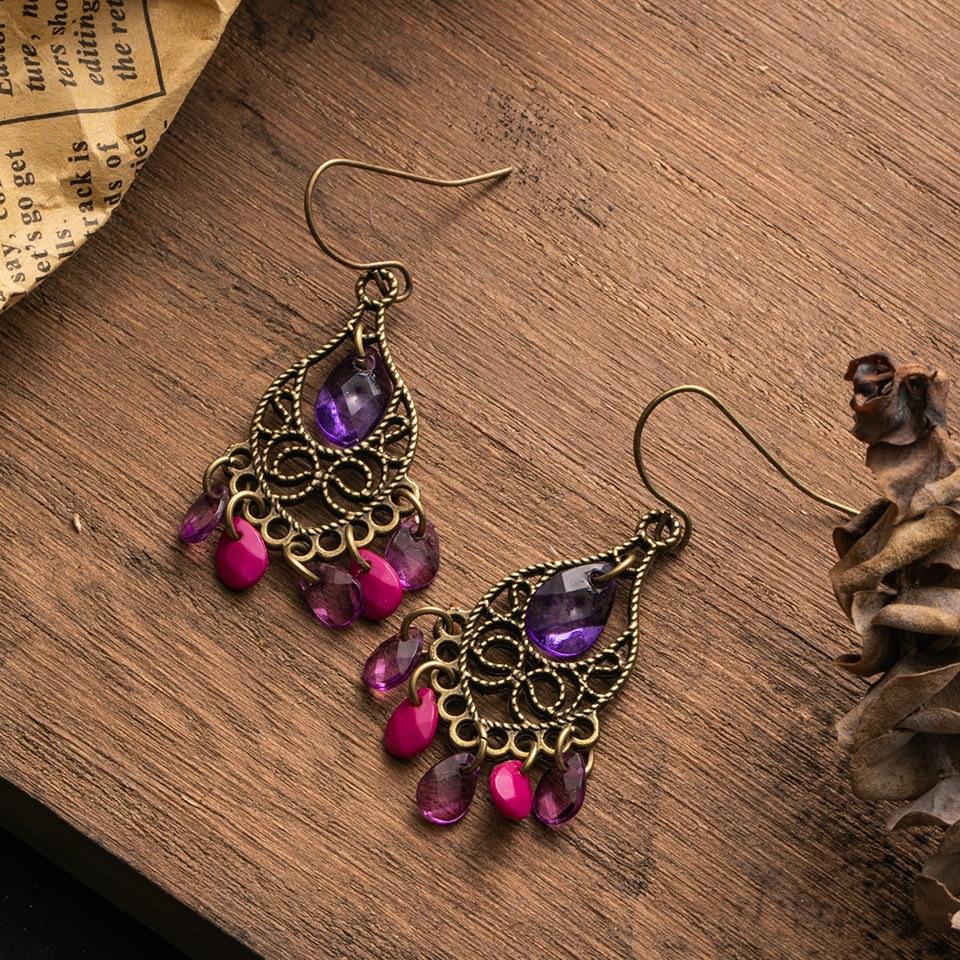 Женские винтажные серьги-подвески Boho, богемные висячие серьги с фиолетовыми кристаллами, свадебные украшения, аксессуары