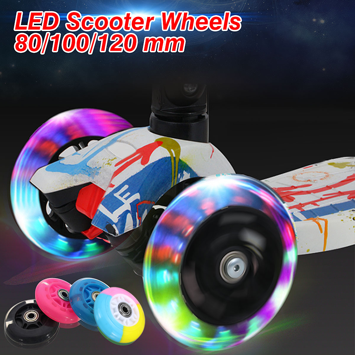 2PCS Scooter Wheel LED Flash Light Up Scooter Wheel for Mini Scooter with 2 ABED-7 Bearings 80mm 100mm 120mm
