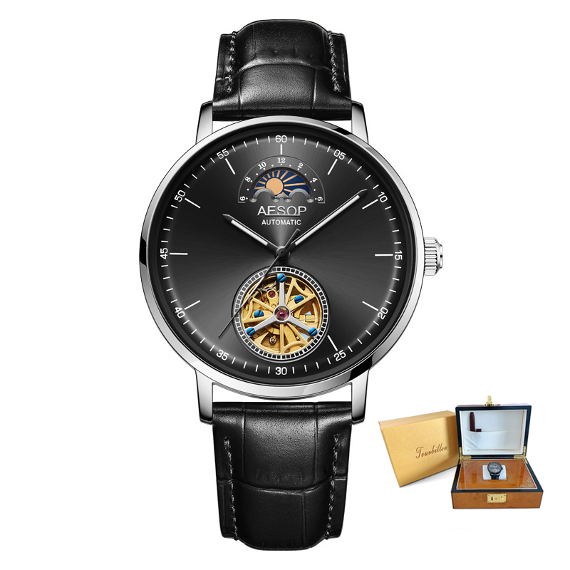 Real Tourbillon Watch Men Business Brand Luxury Fashion Hollow Perspective Automatic Mechanical Retro classic Gift Male Clock