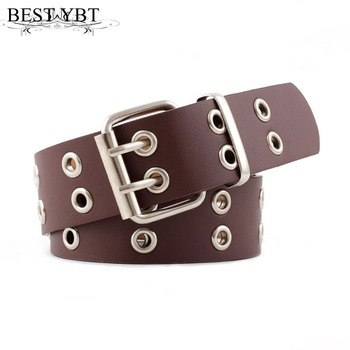 Best YBT Women Belt Imitation Leather Pin Buckle Belt New Punk Wind Jeans Fashion Individual Decorative With Chain Women Belt 2