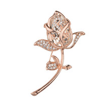 Crystal Rose Flower Brooches Collar Accessories Classic Lapel Brooch Pins for Women Wedding Party Jewelry Gift