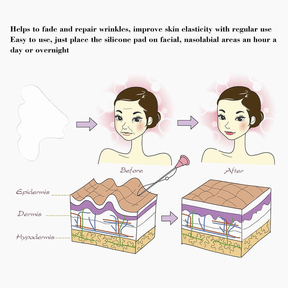 Facciale In Silicone Rimozione Delle Rughe Pad Riutilizzabile Medical Grade Pieghe Naso-labiali Anti-invecchiamento Maschera Prevenire Viso Rughe