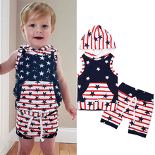 4th of July Newborn Clothes Baby Boys Outfits Independence Day Striped Stars Hoodies Tops+Shorts 2Pcs Kids Boy Sets 1-5Y