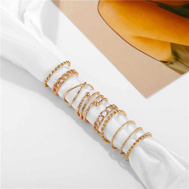 17 קילומטר גיאומטרי זהב רסיס רב שכבתי צלב אצבע טבעות אופנה מעוות טבעת סט לנשים בציר נשי תכשיטי 2020 מתנות