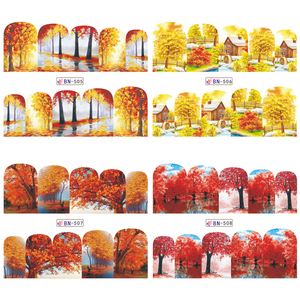 Image 5 - 12pc Water Decals Autumn Nail Stickers Gold Maple Leaves Nail Art Sliders Sets Manicure Polish Foils Decoration Tips LABN505 516