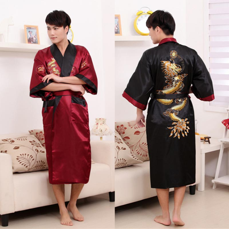 Silk Double Faced Men's Home Dressing Gown Long Light-Robe Embroidered Ancient Kimono Dress Bathrobe For Men Claret With Black