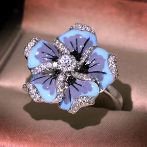 Женское кольцо с эмалью, синее кольцо с цветком, ручная работа
