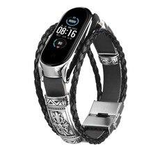 עבור Xiaomi Mi Band 5 4 3 NFC חכם צמיד רצועת השעון עור Weave + מתכת מסגרת צמיד עבור Miband 3 4 5 Mi5 Mi 4 קוראת להקות