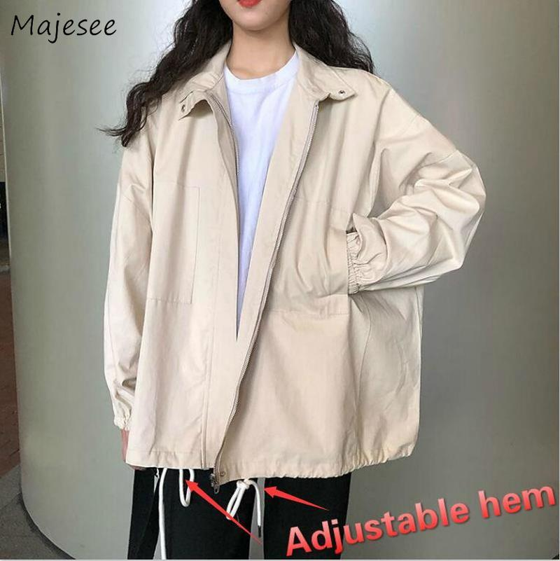 Trench Women Solid Turn-down Collar High Quality Double Layers Straight Loose 2XL Coat Womens BF Harajuku Unisex Fashion Chic