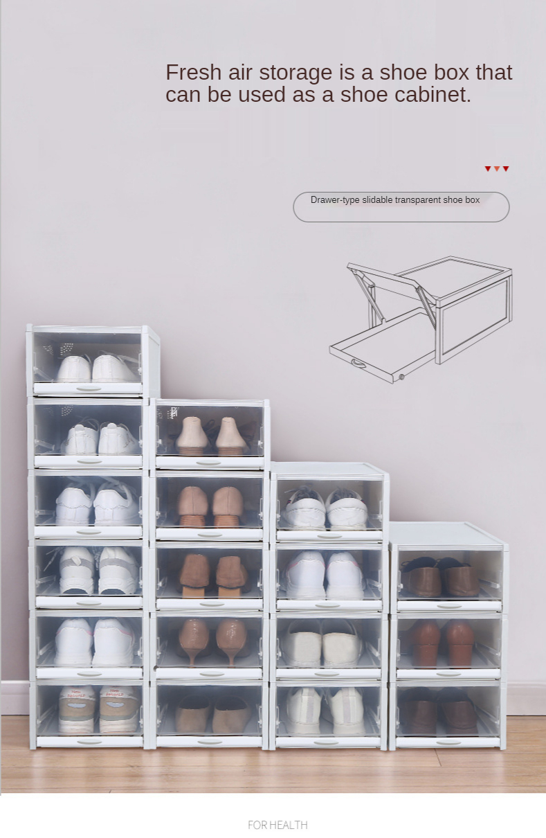 The new transparent shoe box plastic thickened moisture proof storage can  stack drawer type shoe box shoe storage box