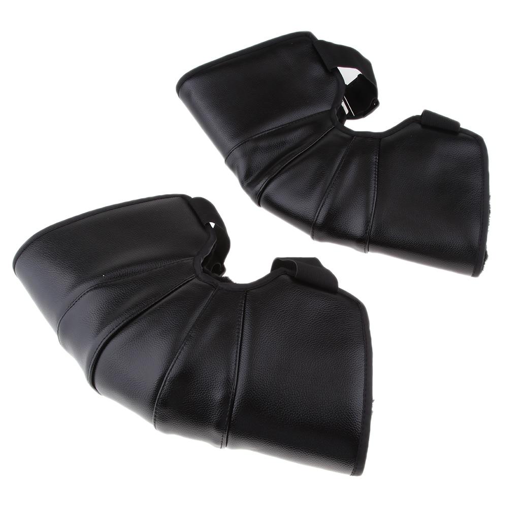 35cm Black Leather Motorcycle Warm Knee Pad Leg Warmer Protector Adjustable|Motorcycle Protective Kneepad| |  - title=