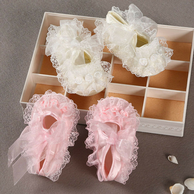 Newborn Baby Girl Pink Soft Cloth Lace Flower Crib Shoes Bow Anti-Slip Prewalker Princess Shoe